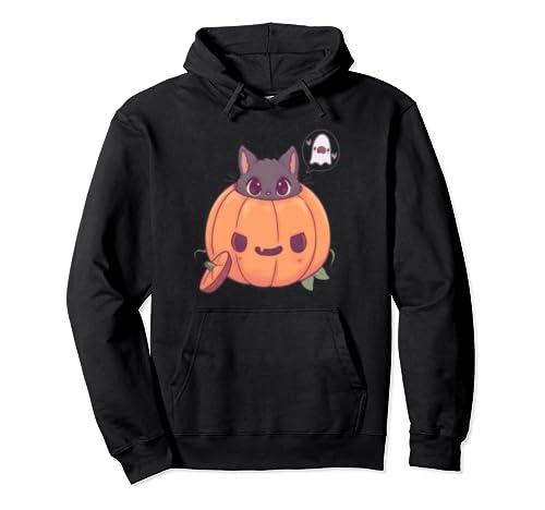 Kawaii Jack O' Lantern Kitten Pullover Hoodie