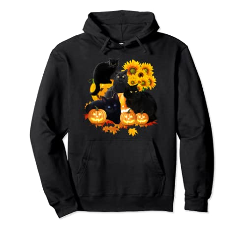 Four Cats With Pumpkin And Flowers Halloween  Pullover Hoodie