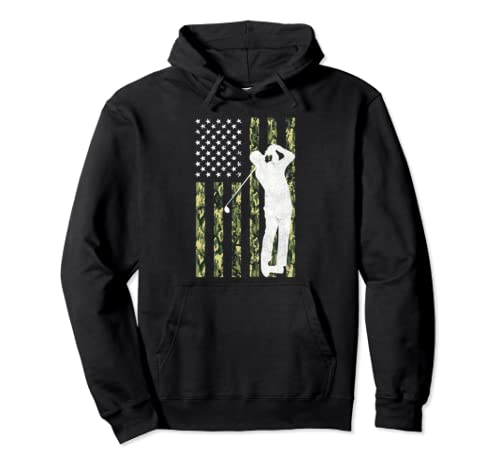 Father's Day And Christmas Gift Camo American Flag Golf Pullover Hoodie