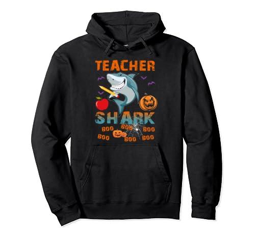 Teacher Shark Boo Boo Boo Funny Pumpkin Teacher Halloween  Pullover Hoodie