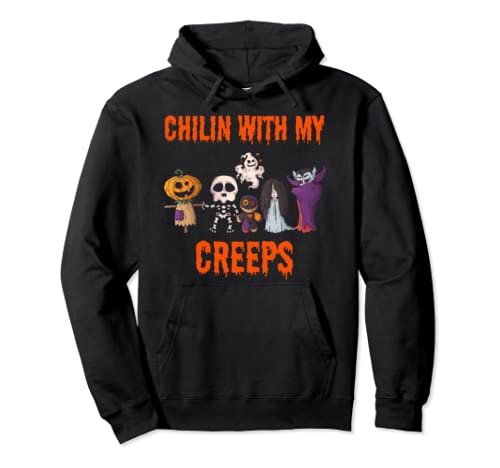 Chillin With My Creeps Halloween Gift Pullover Hoodie