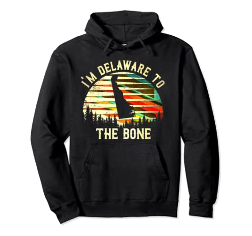 Vintage Delaware Sunset I'm Delaware To The Bone Pullover Hoodie