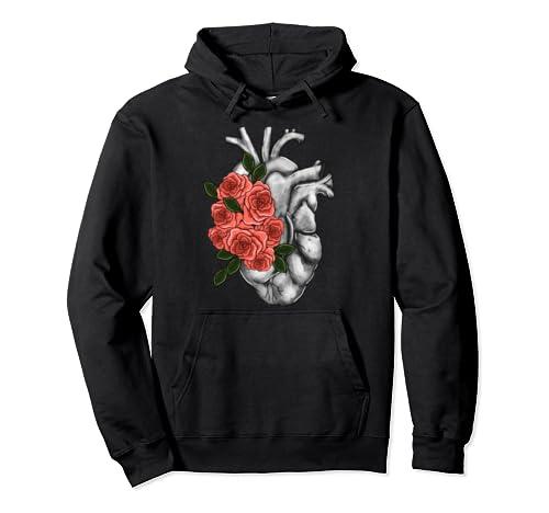 Roses On Heart Cardiovascular Cardiac Nurse Nursing Gift Pullover Hoodie