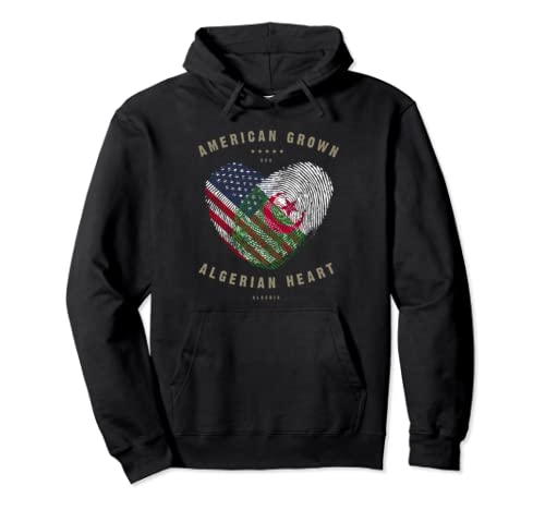 American Grown Algerian Heart Love Algeria Flag Pullover Hoodie