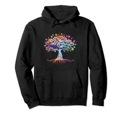 Colorful Life Is Really Good Vintage Unique Tree Art Gift Pullover Hoodie