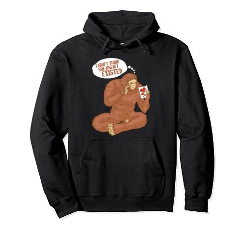Bigfoot Valentines Day Heart Gag Sasquatch Yeti Boys Kids  Pullover Hoodie