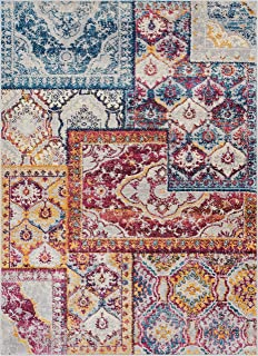 Well Woven Greenwich Floral Blue & Red Boho Patchwork Area Rug 3x5 (3'3