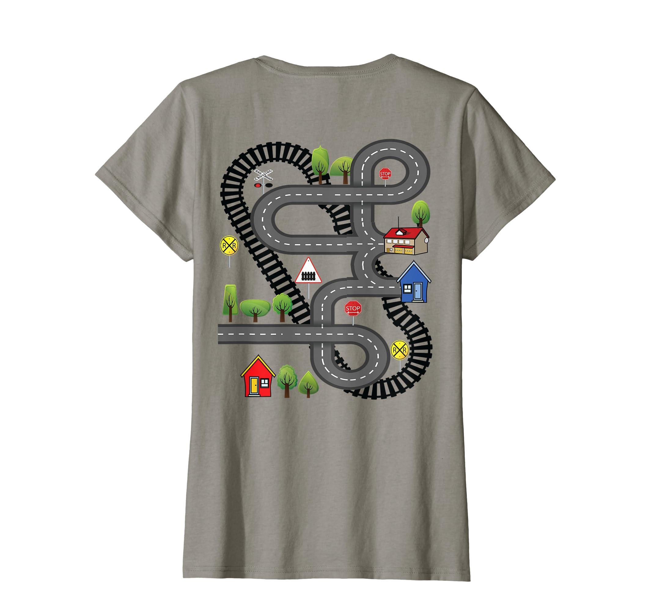 Amazon Car Train Road Track Playmat Back Design Gift T Shirt