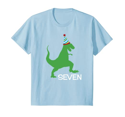 Kids 7th Birthday Shirt Boy Dinosaur Seventh Outfit