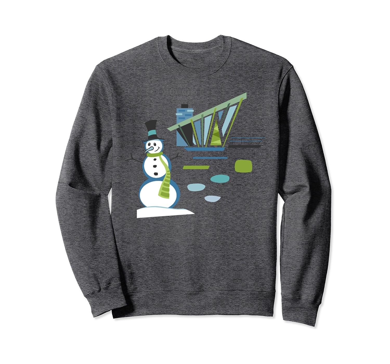 Mid Century Christmas House and Snowman Sweatshirt