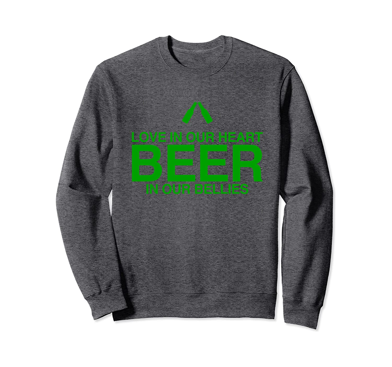 St. Patty Day Saint Patrick's Day Love In Heart Beer In Bell Sweatshirt-Awarplus