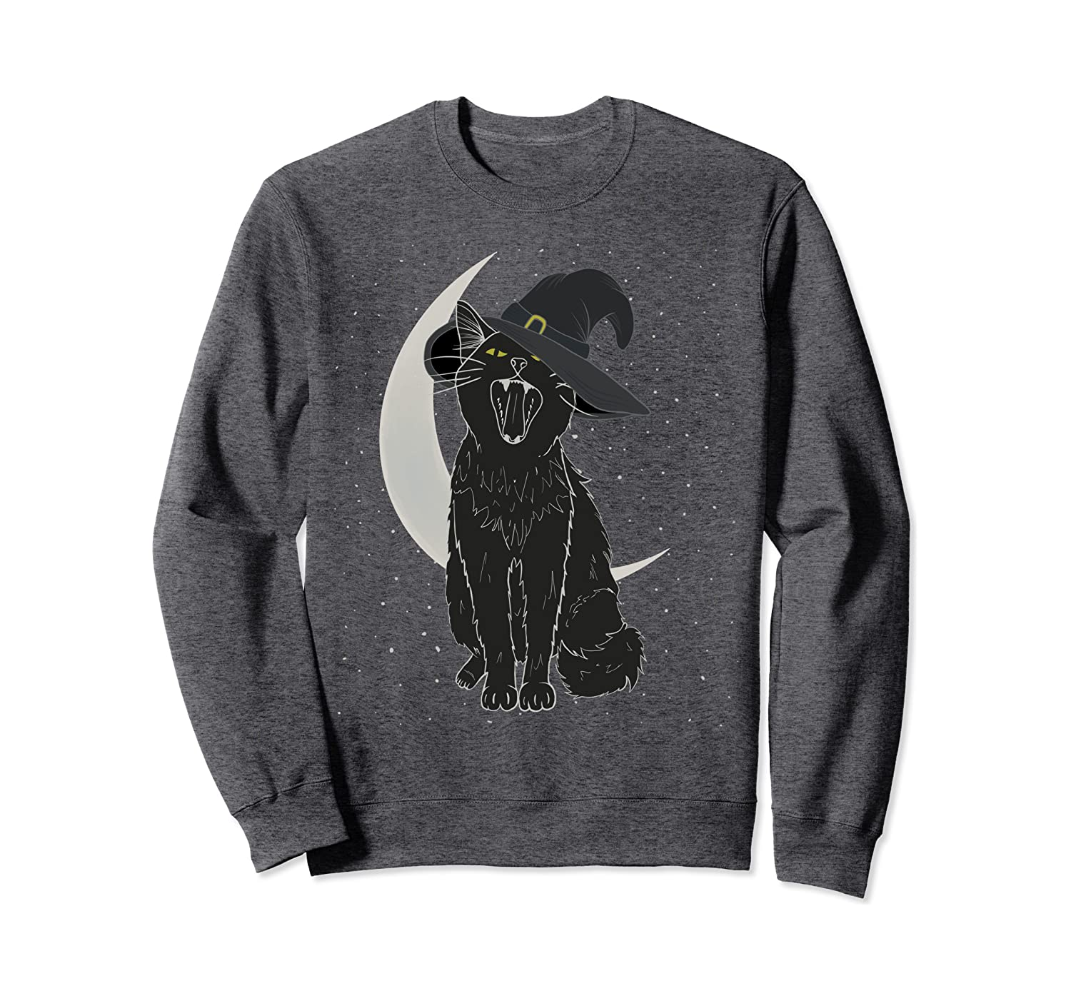 Vintage Scary Halloween Black Cat Costume Witch Hat Moon Sweatshirt