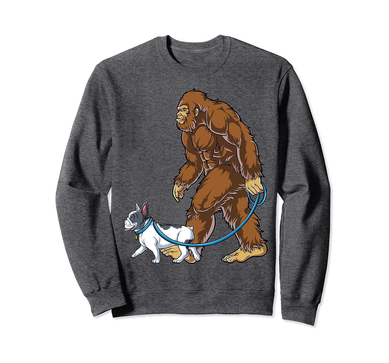Bigfoot Dog Walk French Bulldog Sweatshirt Sasquatch Men Tee
