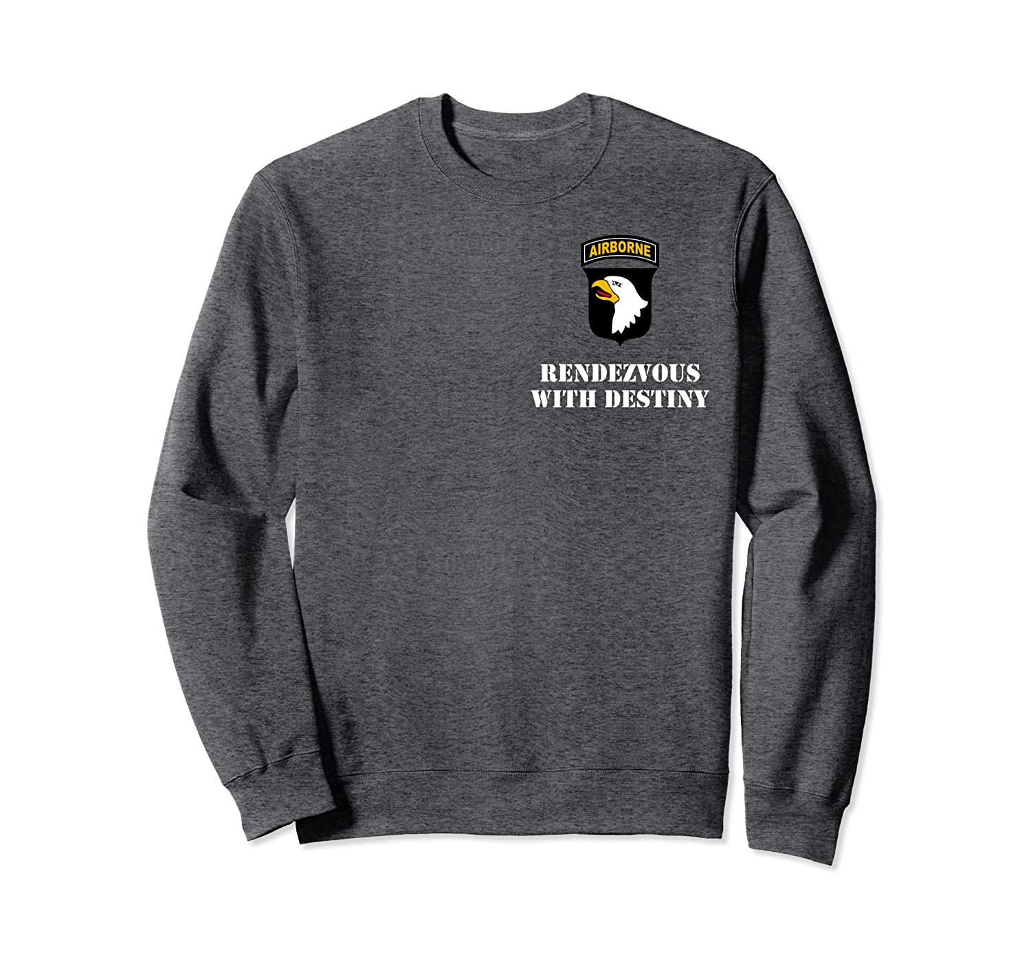 "101st Airborne Division Patch – White ""Rendezvous Motto"" Sweatshirt"