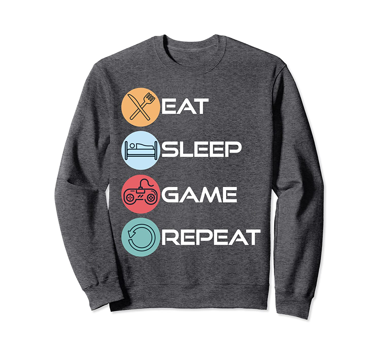 Eat Sleep Game Repeat Retro Vintage Funny Gamers Gift Sweatshirt-TH