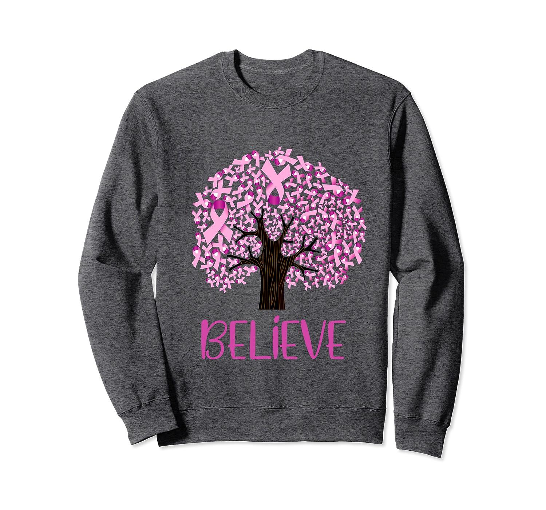 Flower pink Ribbon Breast Cancer Awareness hope believe cool Sweatshirt