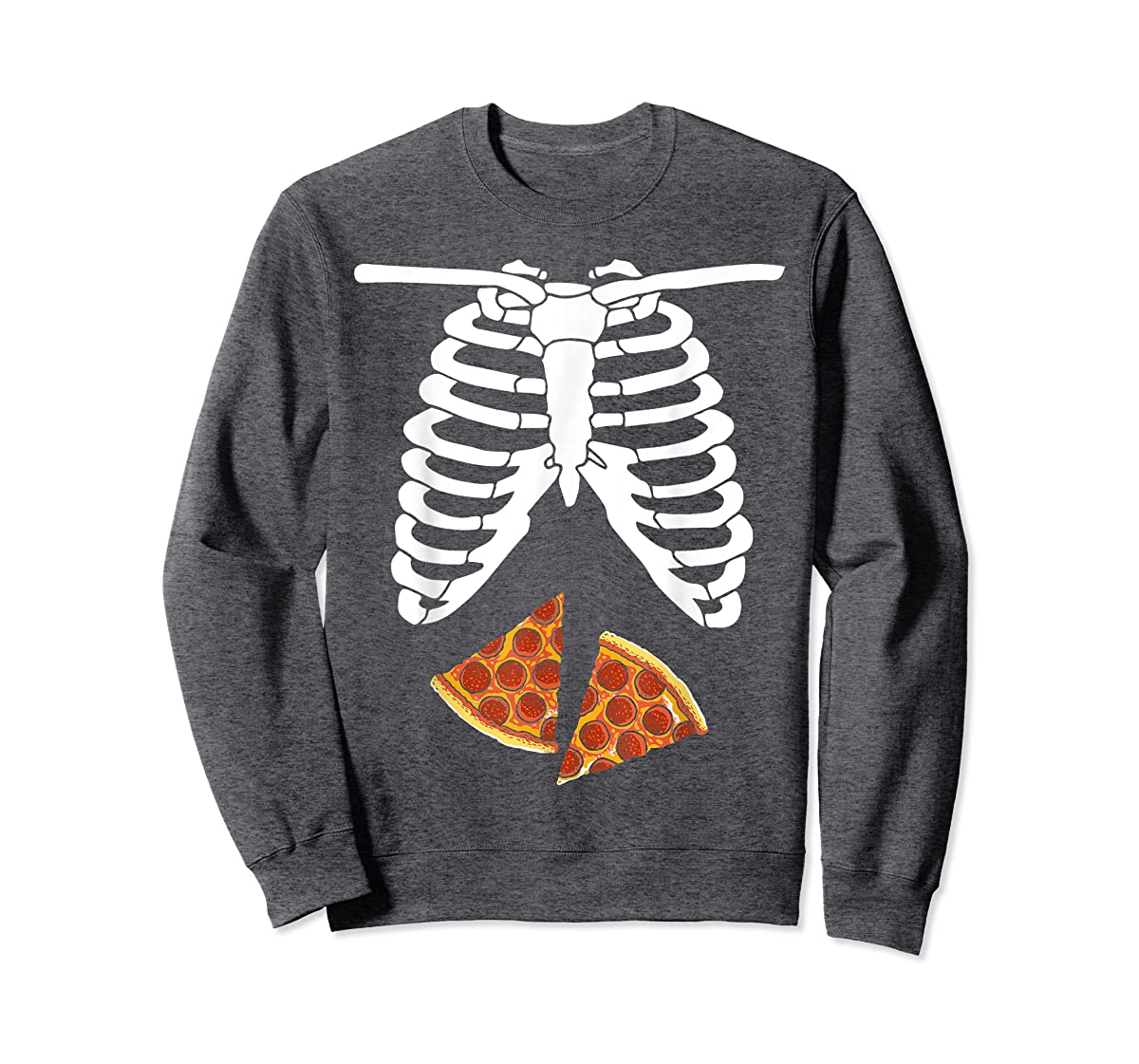 Halloween Skeleton Xray Pizza Slices Costume Rib Cage Easy T-Shirt-Sweatshirt-Dark Heather