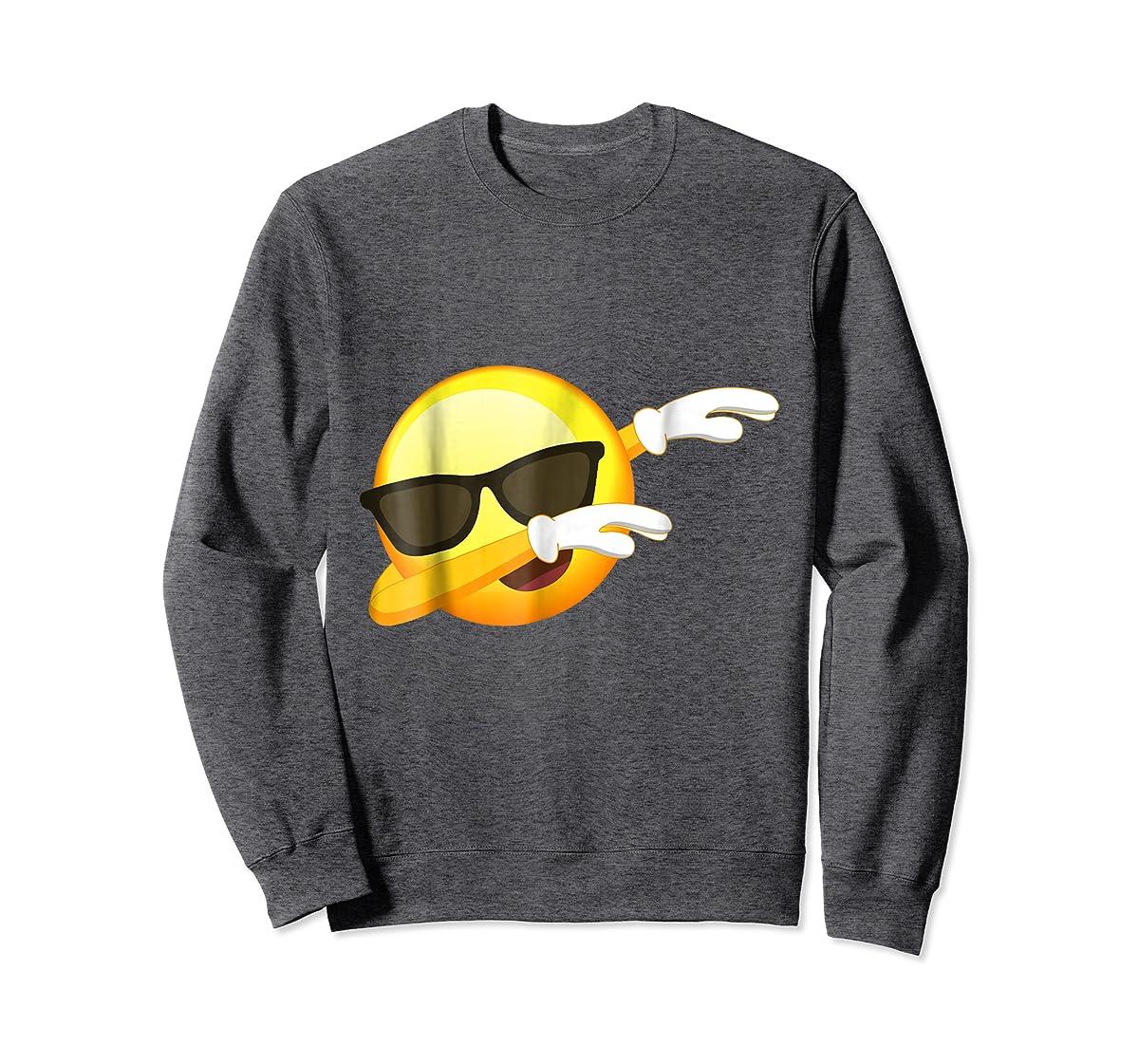 Funny Dabbing Emoji Shirt - Cool Emoji Dab T-Shirt-Sweatshirt-Dark Heather