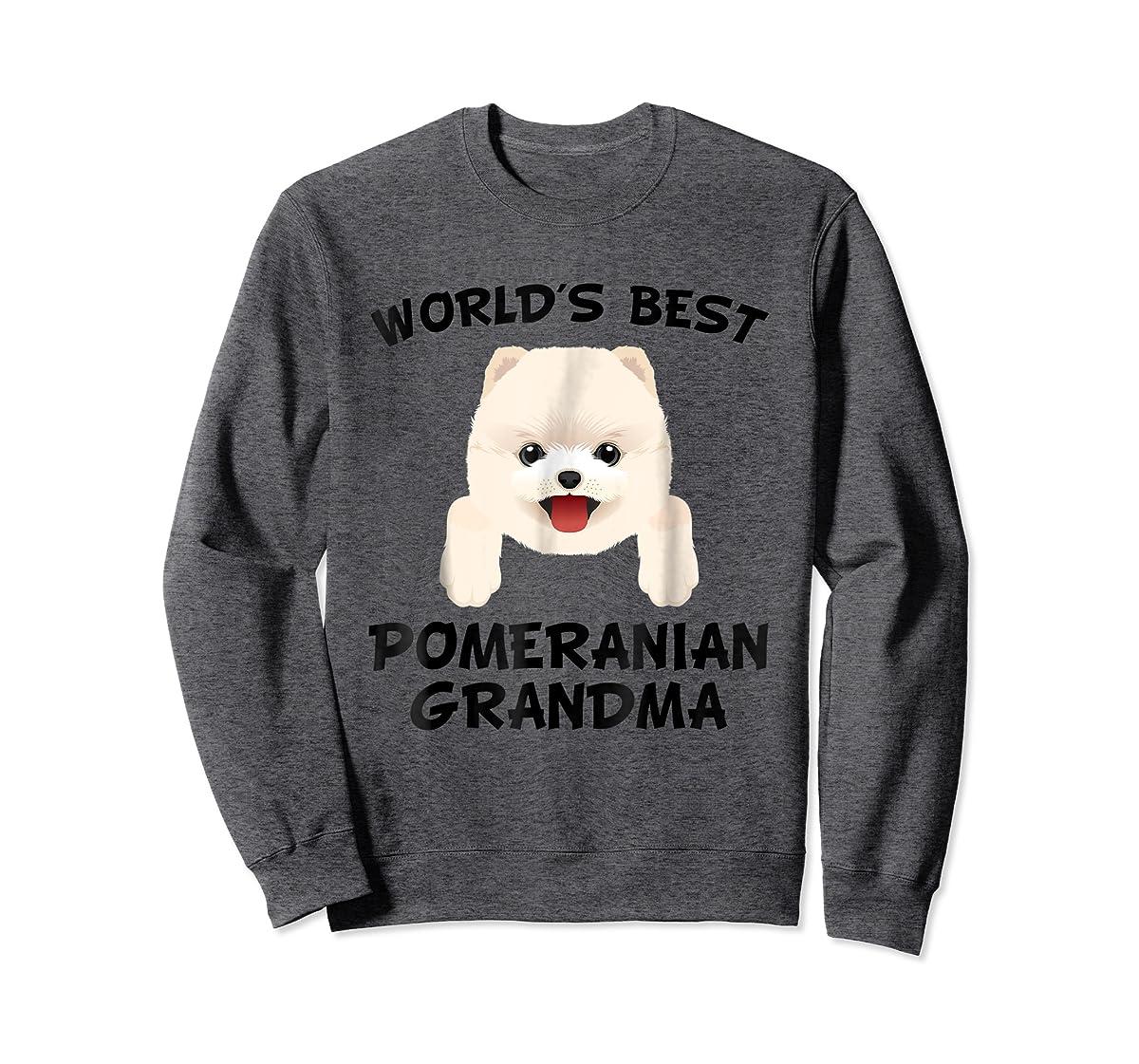 World's Best Pomeranian Grandma Dog Granddog T-Shirt-Sweatshirt-Dark Heather
