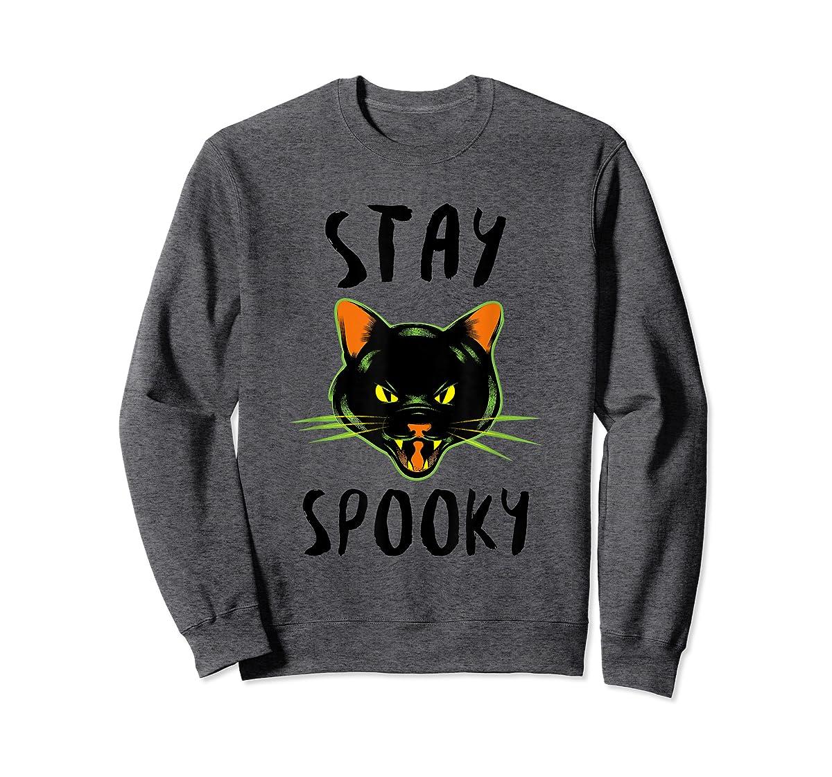 Stay Spooky | Scary Halloween Black Cat T-Shirt-Sweatshirt-Dark Heather