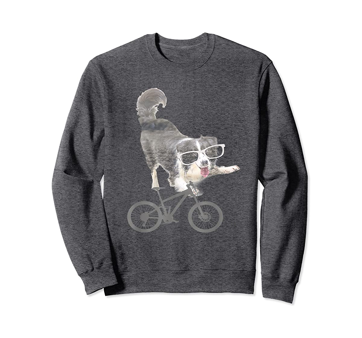 Border collie on a Bicycle T-shirt-Sweatshirt-Dark Heather