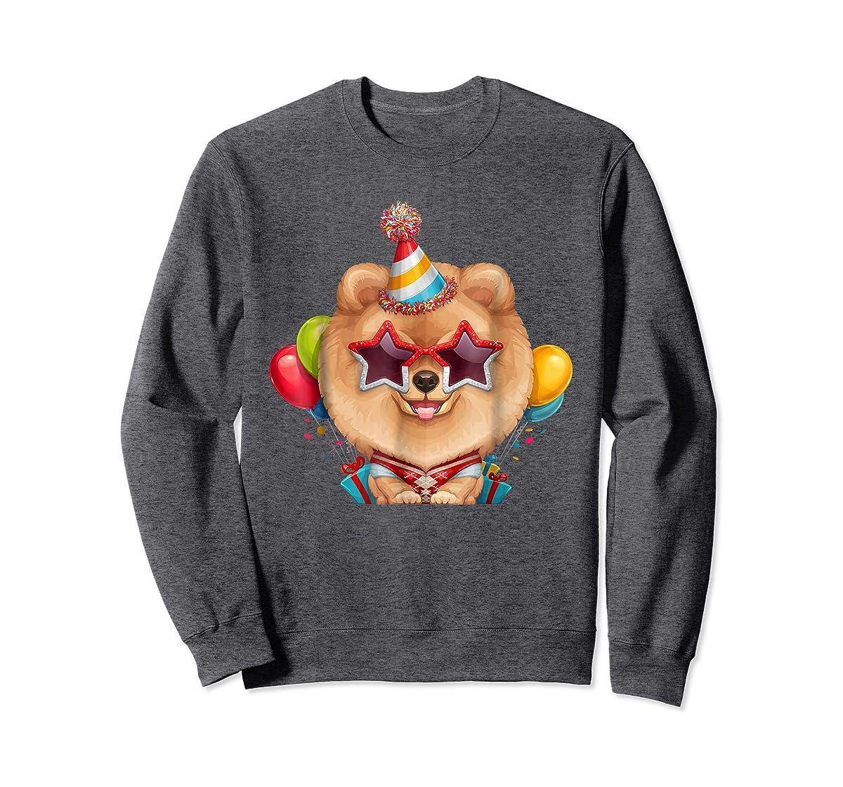 Orange Pomeranian in Glasses Birthday T-Shirt-Sweatshirt-Dark Heather