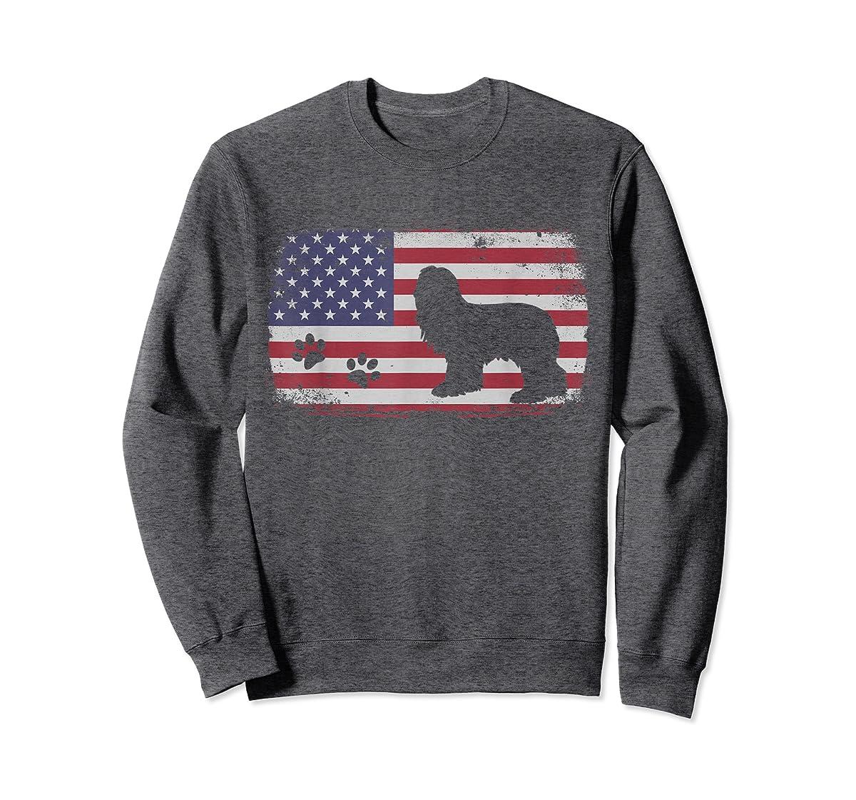 Vintage American Flag Bearded Collie Dog T-Shirt-Sweatshirt-Dark Heather