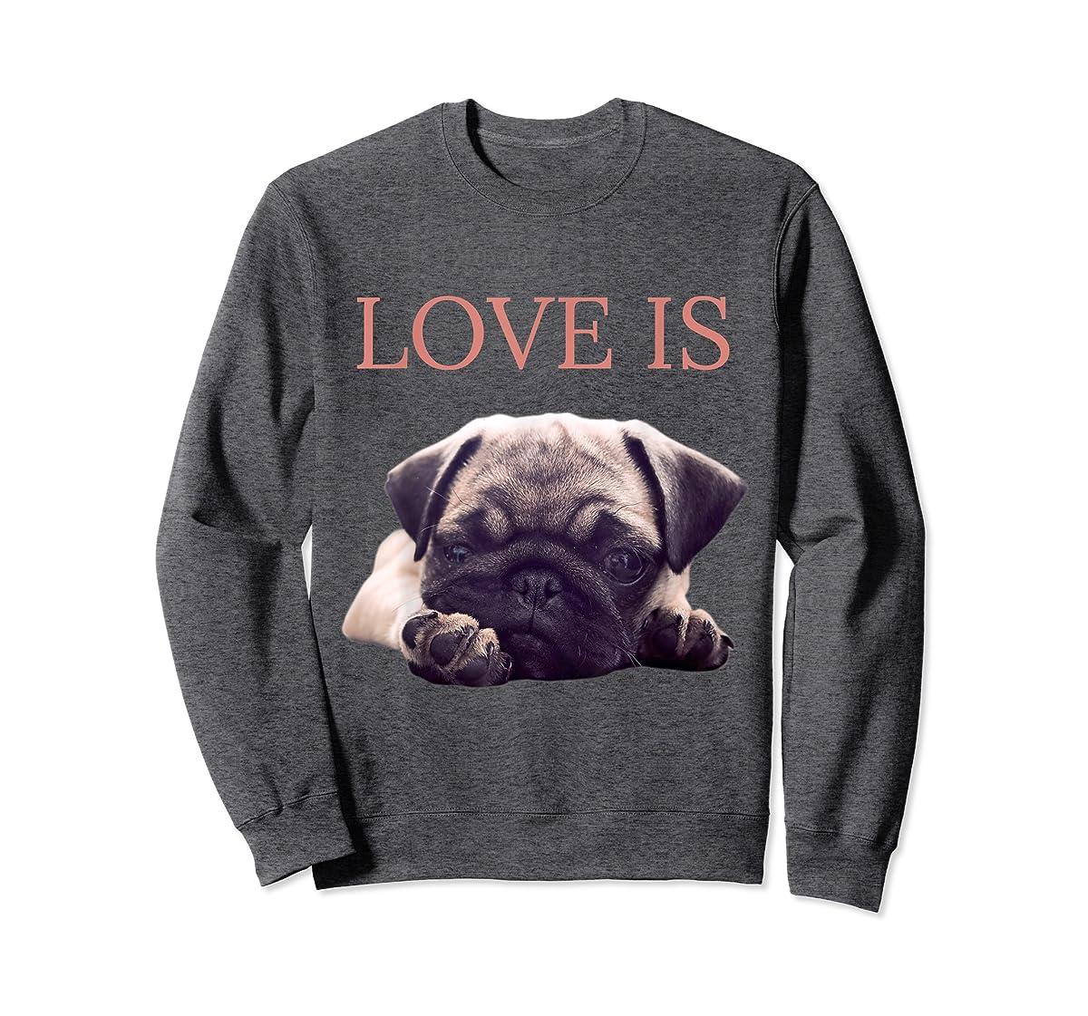 Mothers Day Pug Shirt Women Men Pug Mom Life Tee Love Is Dog-Sweatshirt-Dark Heather