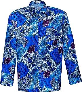 Thai Silk Men's Shirt Long Sleeve Vintage Pattern