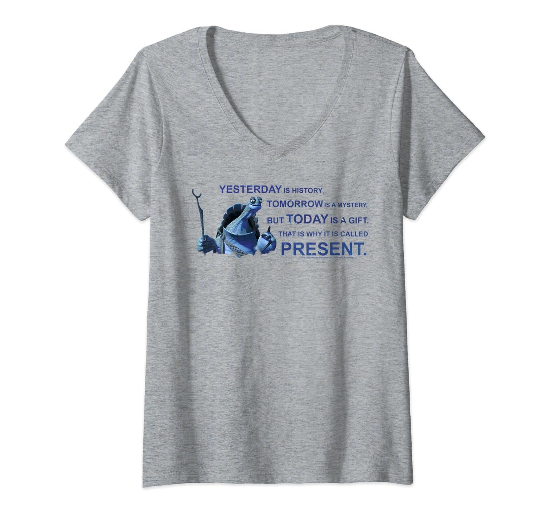 Amazon Com Womens Kung Fu Panda Oogway Quote Portrait V Neck T Shirt Clothing