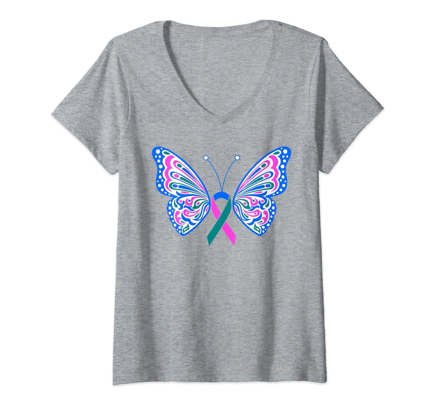 Amazon Com Womens Thyroid Cancer Blue Pink Teal Ribbon Butterfly