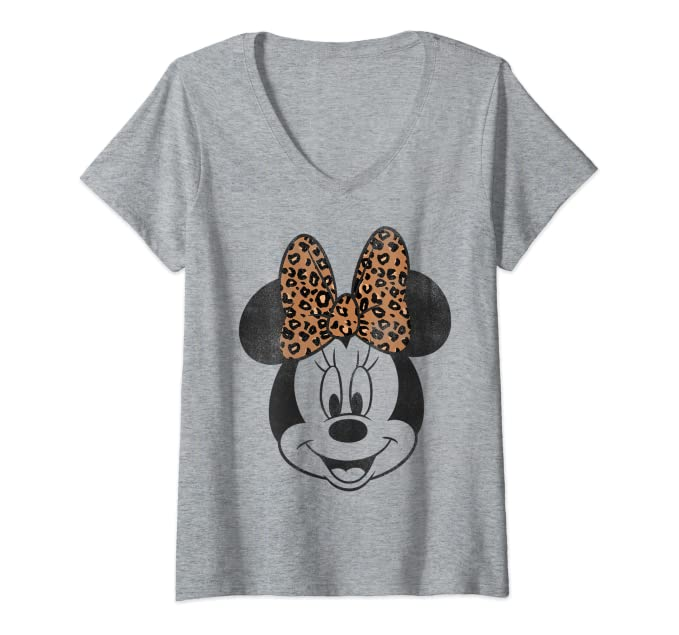 Womens Disney Minnie Mouse Leapord Print Bow Portrait V-Neck T-Shirt