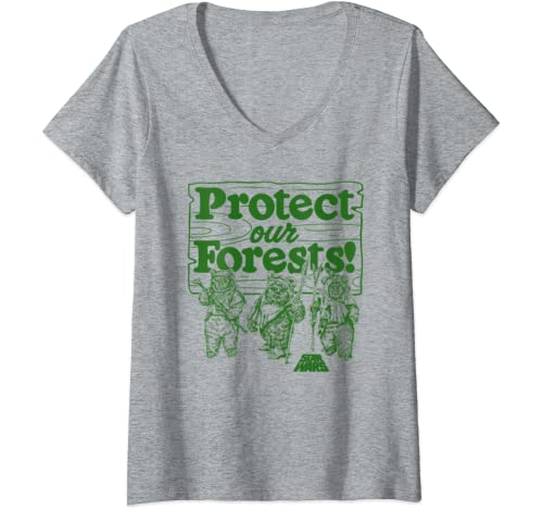 Womens Star Wars Ewoks Protect Our Forests Sketch V-Neck T-Shirt