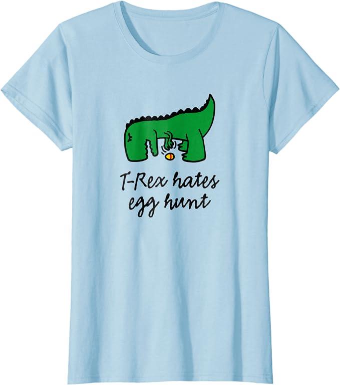 Dinosaur Easter Shirts T-Rex Hates Easter Egg Hunts Toddler Raglan Toddler Baseball Tee