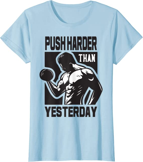 Push Harder Than Yesterday Womens Long Sleeve T-Shirts Cotton Tops Tee