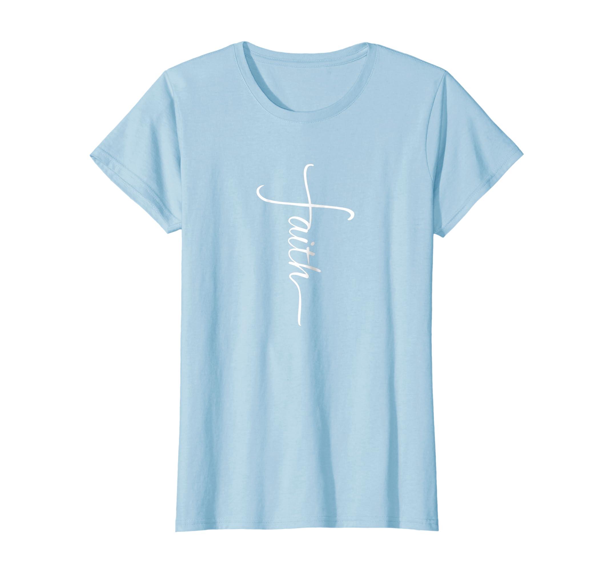Womens Faith Cross T Shirt Bible Verse Christian Sideways Tatoo-Newstyleth