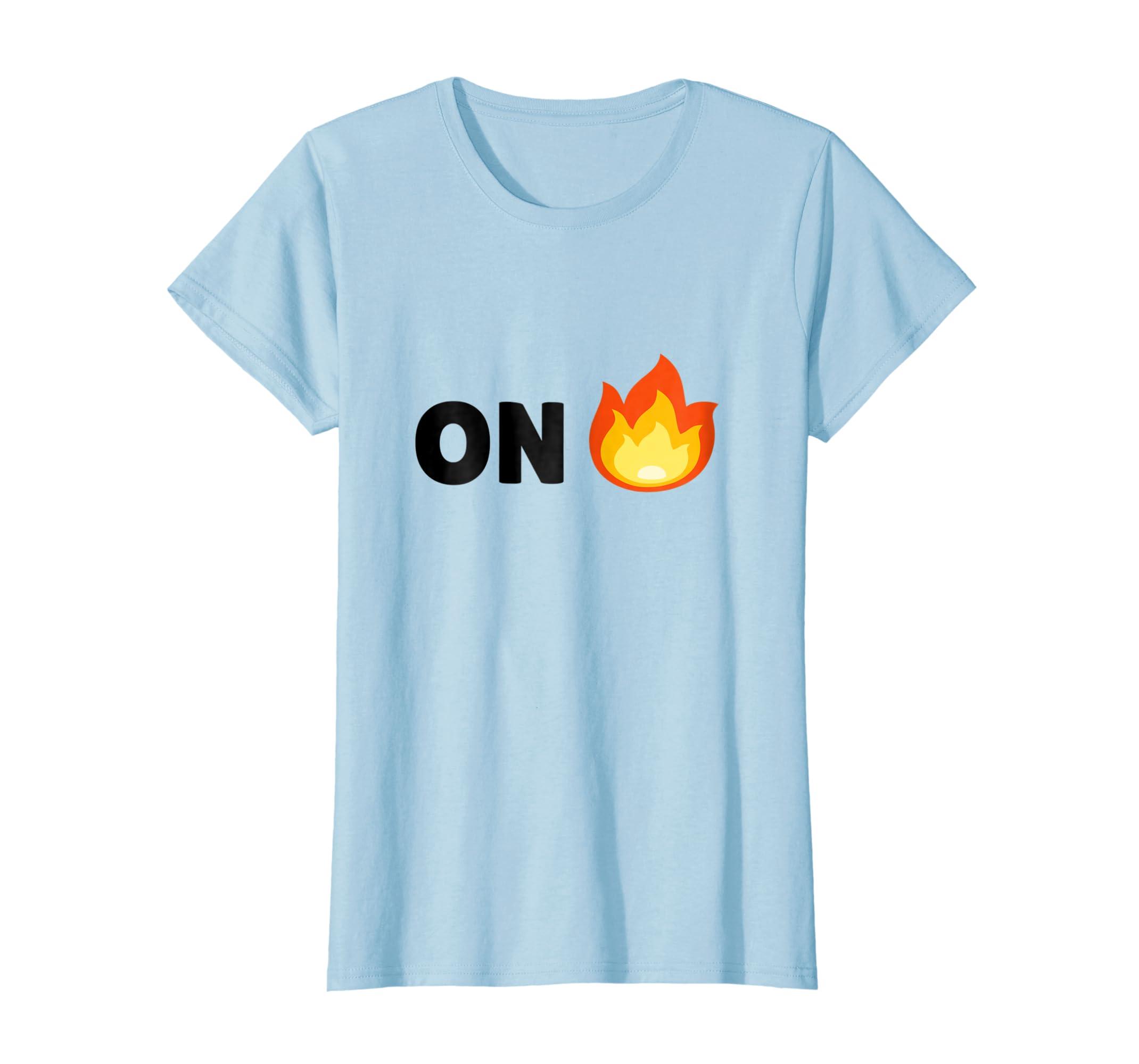 Amazon com: ON FIRE Emoji Shirt - Burning Emoji Tee Shirt