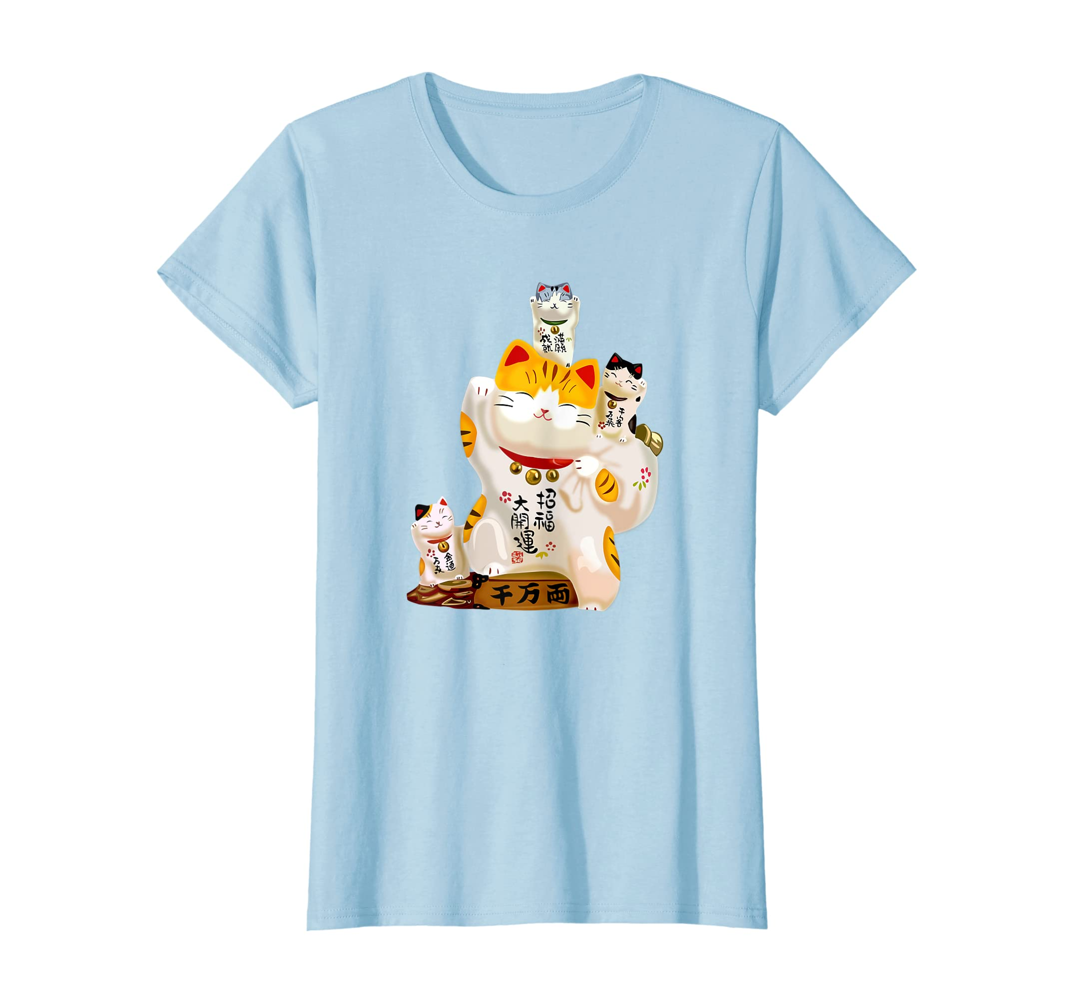 327361268d4b5d Amazon.com  Cat T-Shirt Japanese Fortune Cats Chinese Good Luck Gift Tee   Clothing