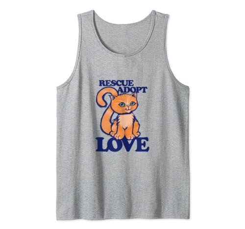 Rescue Adopt Love cats cute orange Tank Top