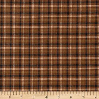 Textile Creations Rustic Woven Plaid Brown/Black/Natural Fabric by The Yard