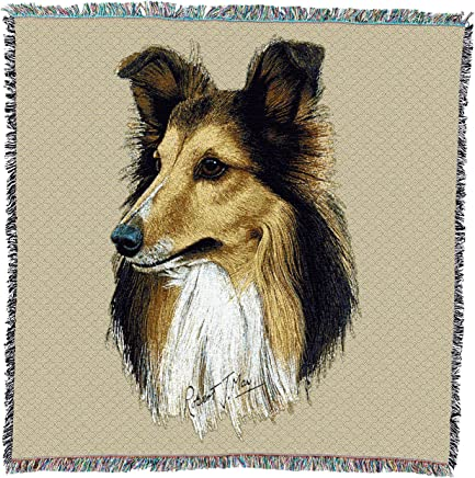 featured product Pure Country Weavers - Shetland Sheepdog Woven Blanket with Fringe Cotton USA 54x54