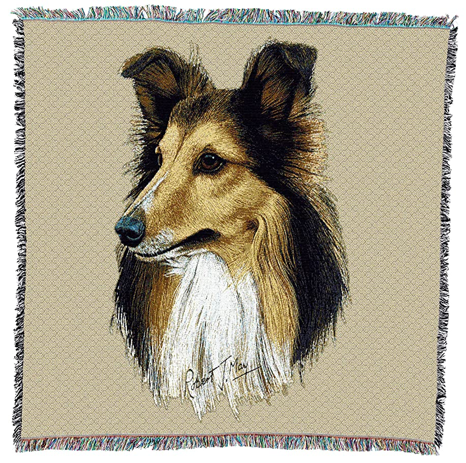 Pure Country Weavers - Shetland Sheepdog Woven Throw Blanket with Fringe Cotton. USA Size 54x54