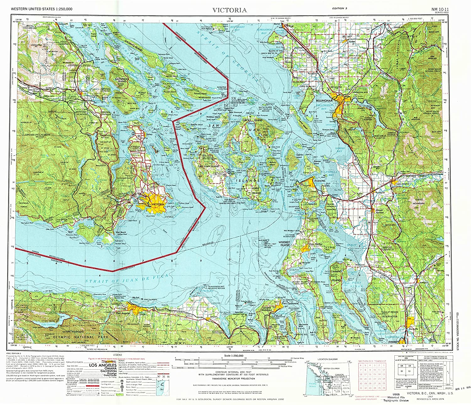 Victoria WA topo map, 1 250000 Scale, 1 X 2 Degree, Historical, 1957, Updated 1976, 22.1 x 27.1 in