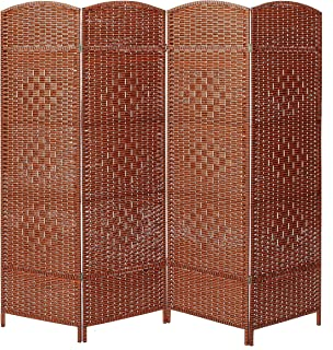 MyGift Decorative Freestanding 4 Hinged Panel Woven Brown Wood Privacy Room Divider Partition Screen