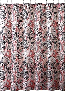 Elegant Gray Pink Taupe Fabric Shower Curtain Large Floral Paisley Print Design 72