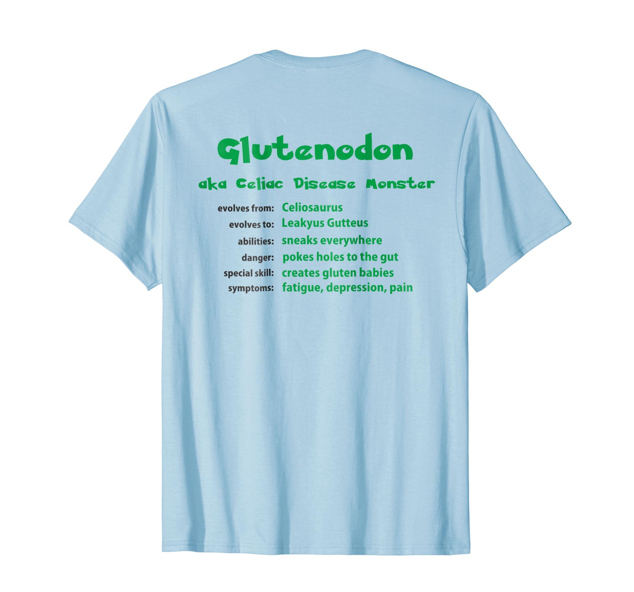 e6a410499 Amazon.com: Celiac Disease Awareness Shirt - Chargimal Glutenodon: Clothing