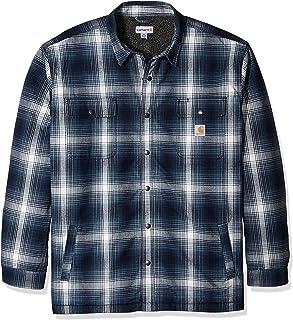 97ad75cb66f7 Carhartt Men s Big   Tall Hubbard Flannel Plaid Sherpa Lined Shirt Jac