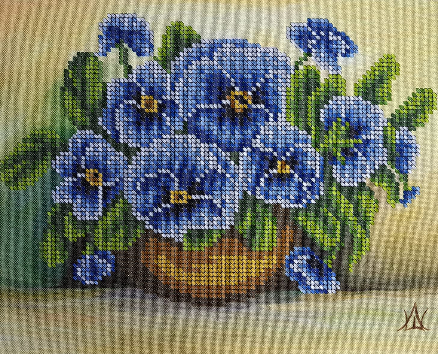 ForgetMeNot Bead Embroidery kit Floral 3D Needlepoint Tapestry Handcraft kit Blue Nosegay Beaded Cross Stitch Pattern Seed Beads Perle