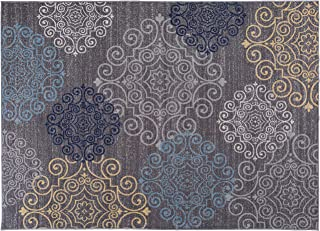 Modern Floral Swirl Design Non-Slip (Non-Skid) Area Rug 20