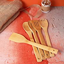 Royalford 5 Pcs Bamboo Kitchen Tools Set - Wooden Solid Turner, Spatula, Slotted Spoon & Turner Kitchen Essentials Cooking...